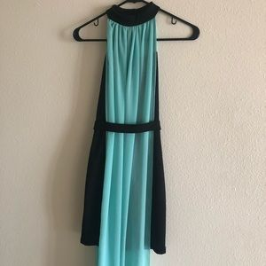 CHARLOTTE RUSSE Black Bodycon Dress with Aqua Blue